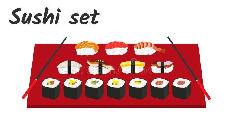 Суши и крены установили с палочками бесплатная иллюстрация