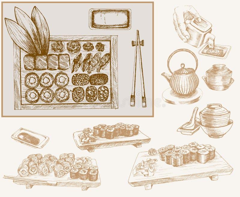 Суши и крены бесплатная иллюстрация