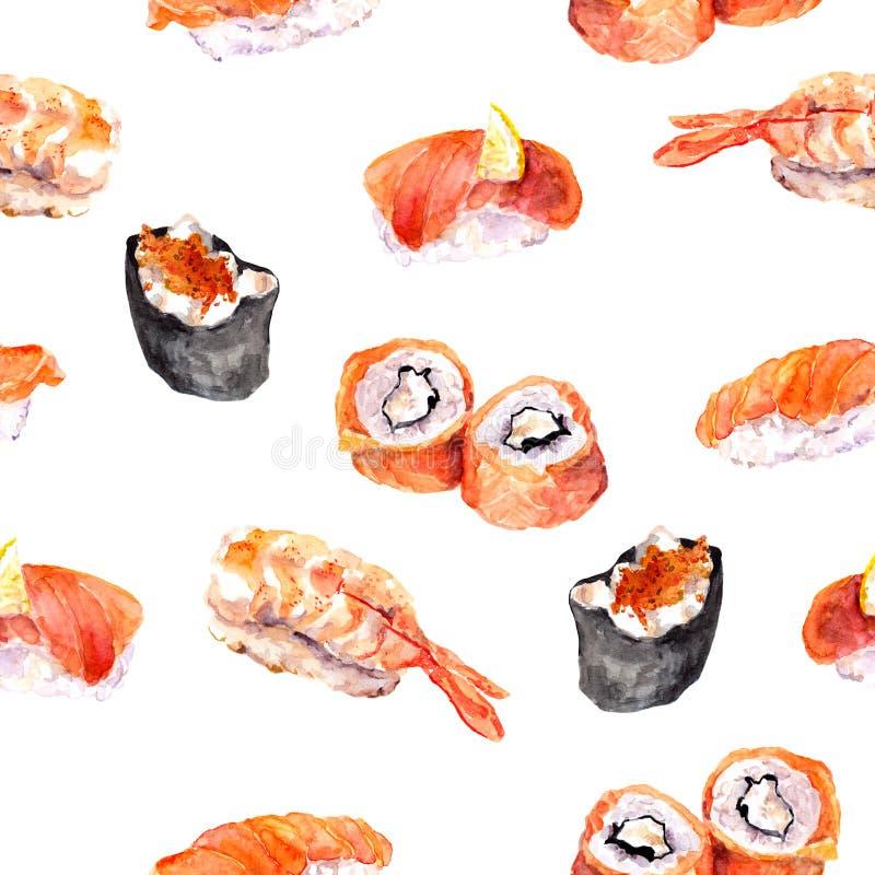 Суши, крен, gunkan безшовная картина продукта моря акварель бесплатная иллюстрация