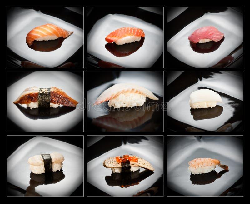 суши различного nigirizushi 9 установленные стоковые фотографии rf