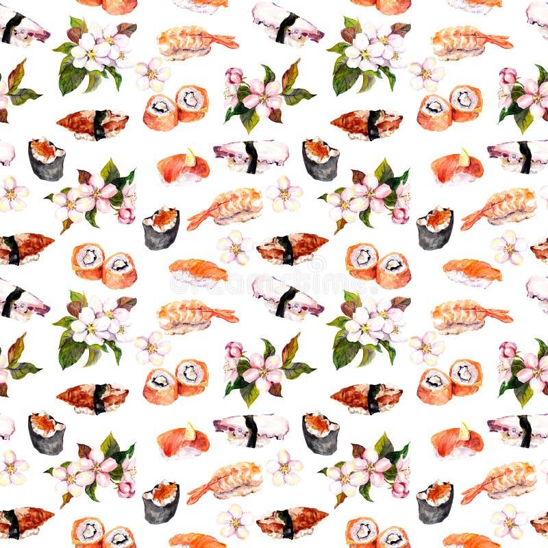 Суши, Сакура цветут безшовная картина повторения Еда акварели иллюстрация вектора