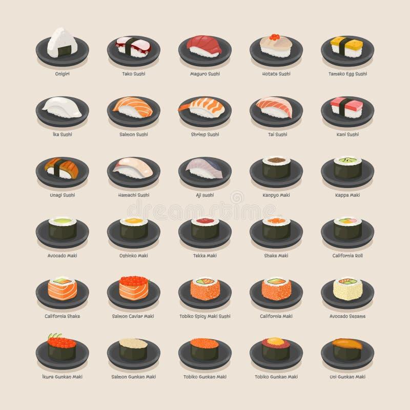суши съемки черноты установленные иллюстрация вектора