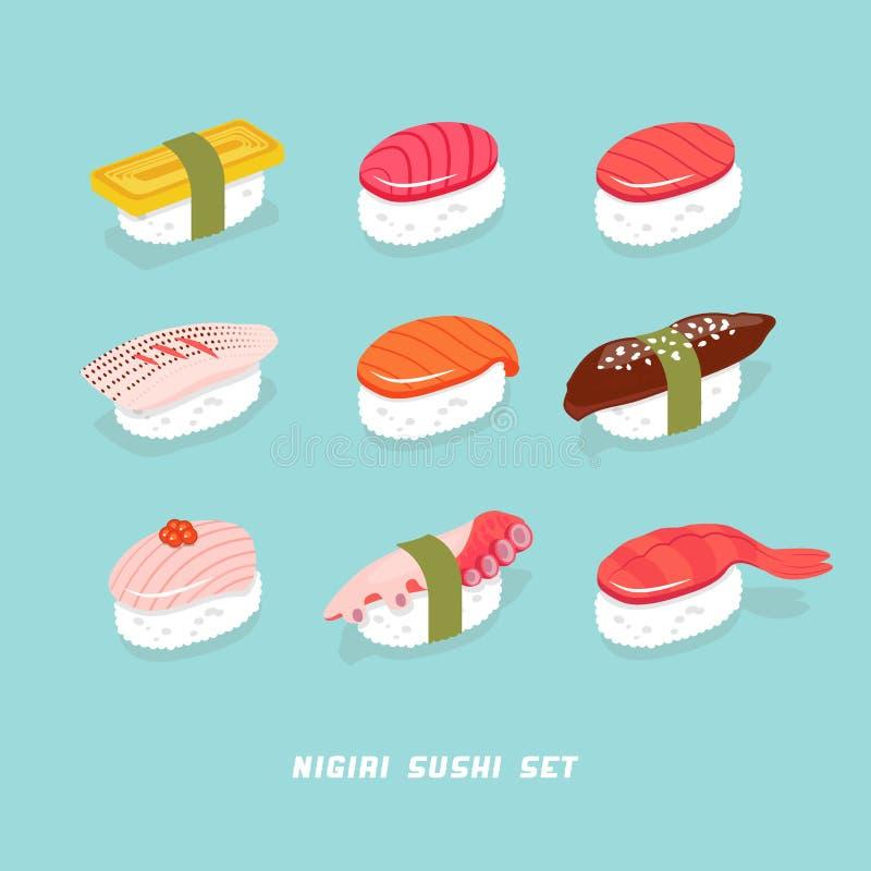 Суши Японские суши nigiri еды Морепродукты с рисом в Японии Изолированный комплект кухни Японии Корейская еда Печать суш иллюстрация штока