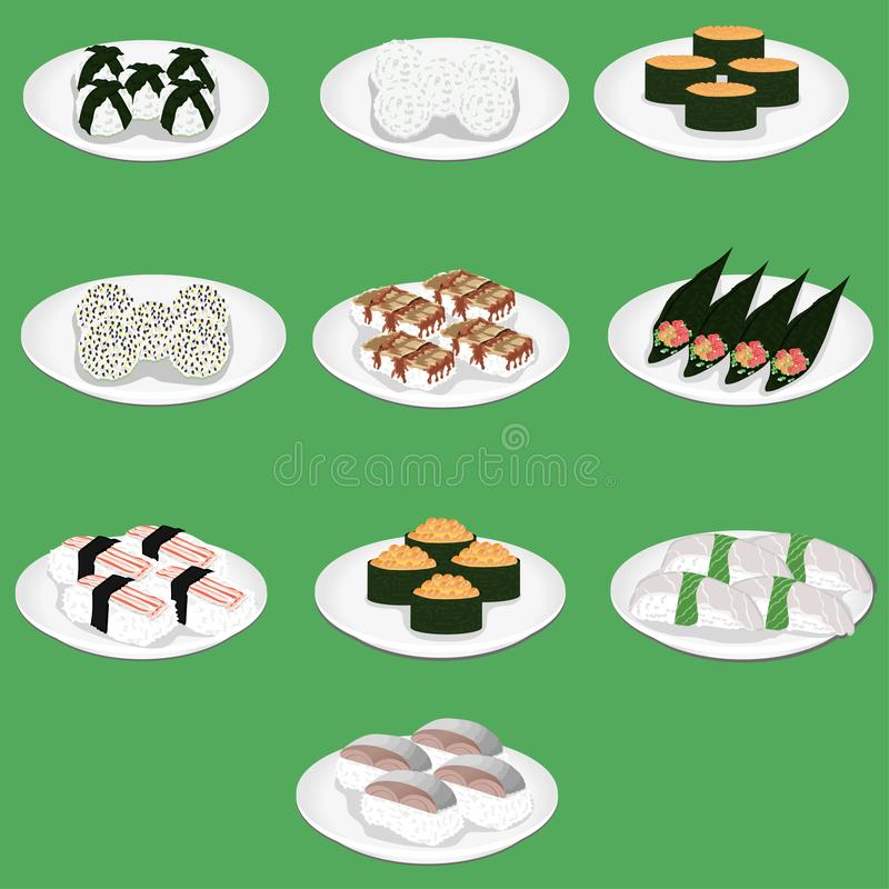 Суши японское блюдо специально подготовленного vinegared ika hotate hamachi яичницы nigiri ebi conger угря anago amaebi aji риса иллюстрация вектора