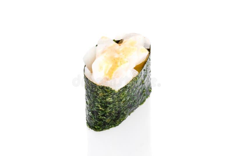 Суши Gunkan с кальмаром и пряный угорь sauce стоковые изображения