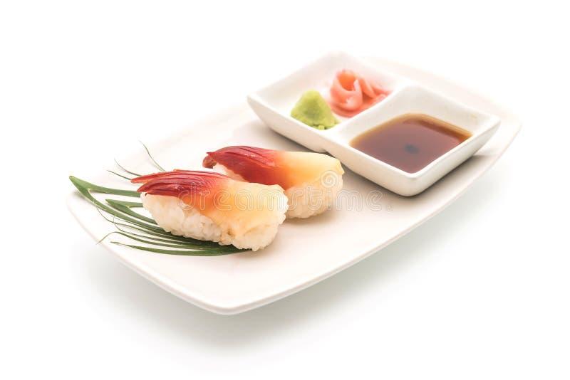 Суши nigiri clam прибоя Stimpson (hokkigai) - японская еда s стоковая фотография