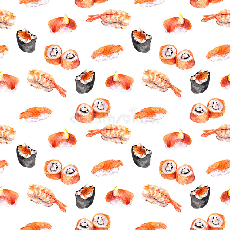 Суши, susi, крен, gunkan повторенная картина морепродуктов акварель иллюстрация вектора