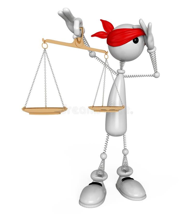 судья белого человека 3d. иллюстрация штока