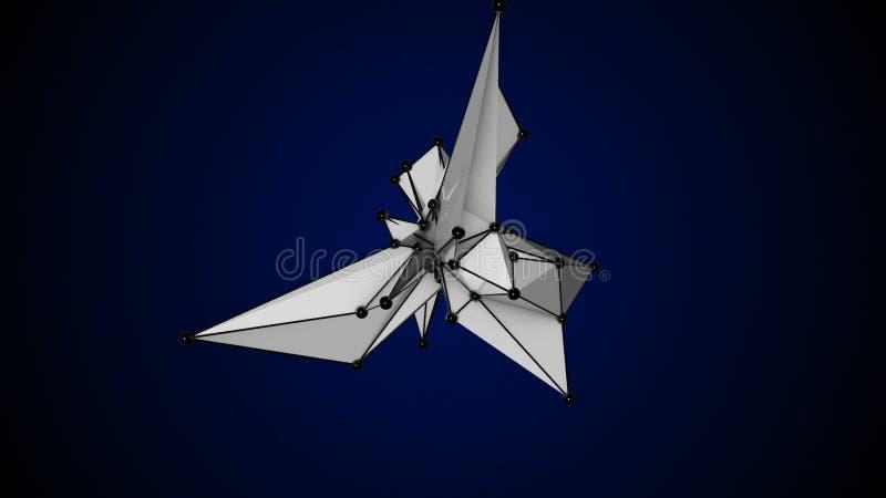 Сфера абстрактной белой фрактали геометрических, полигональных или Lowpoly стиля черноты сделанная от триангулярного иллюстрация вектора