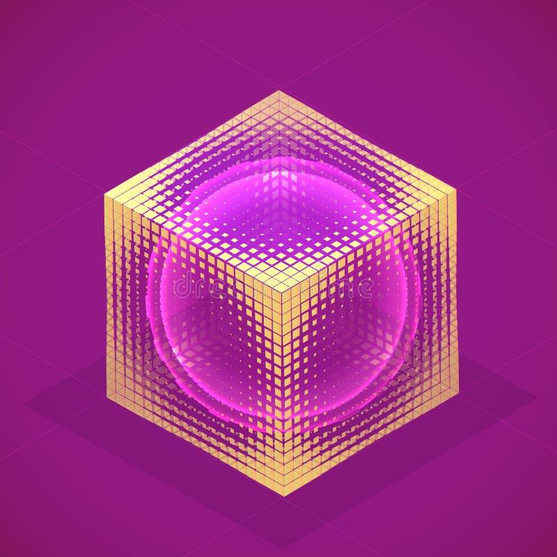 Сфера вектора в hologram куба равновеликом Абстрактное геометрическое fla иллюстрация вектора