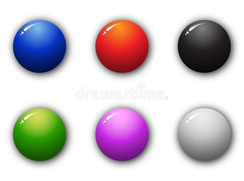сфера высокого качества кнопки 3d установленная иллюстрация штока
