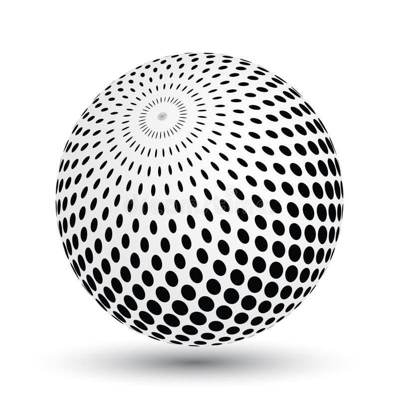 Сфера влияния полутонового изображения в черно-белом Объект вектора 3D с упаденной тенью бесплатная иллюстрация