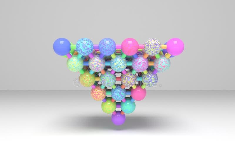 Сфера геометрическая, concepture конспекта стиля молекулы блокировала пирамиды Обои для графического дизайна E иллюстрация штока