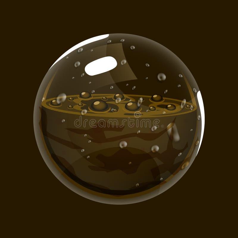 Сфера грязи Значок игры волшебного шара Интерфейс для игры rpg или match3 Земля или грязь Большой вариант бесплатная иллюстрация