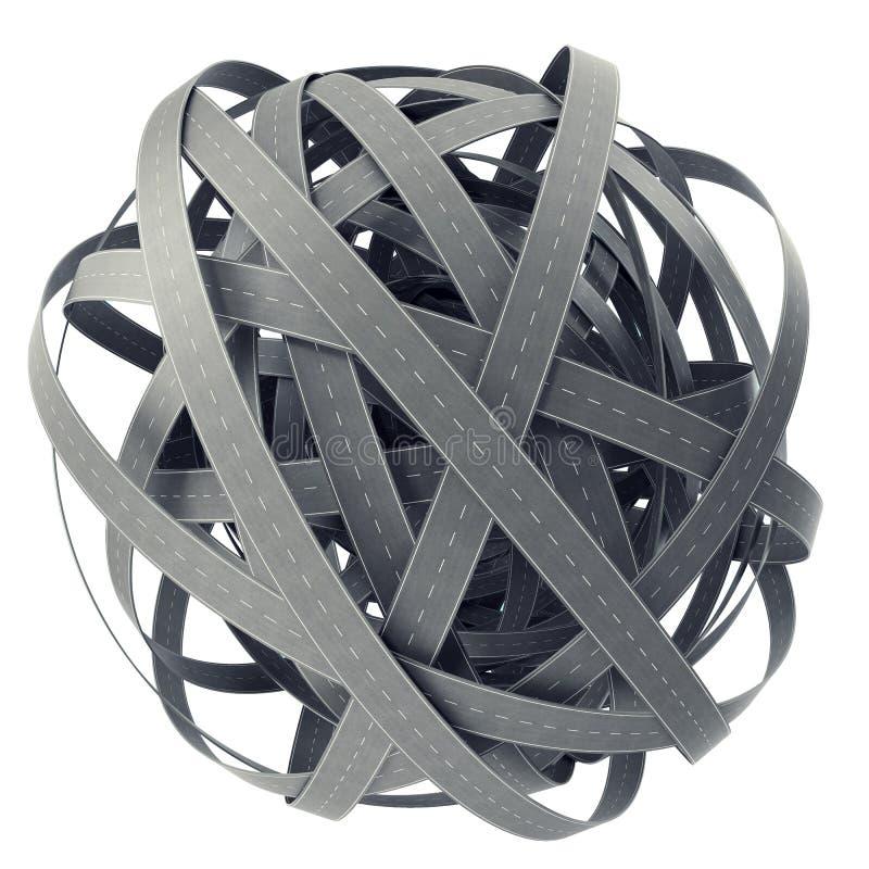 Сфера запутанных дорог, на cyan предпосылке иллюстрация 3d иллюстрация вектора
