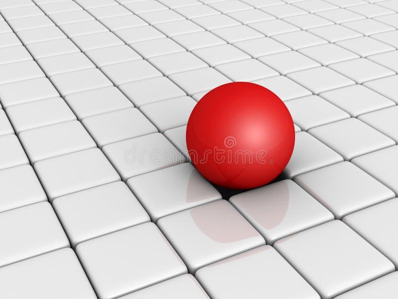 Сфера красного цвета различная среди белых блоков куба иллюстрация штока
