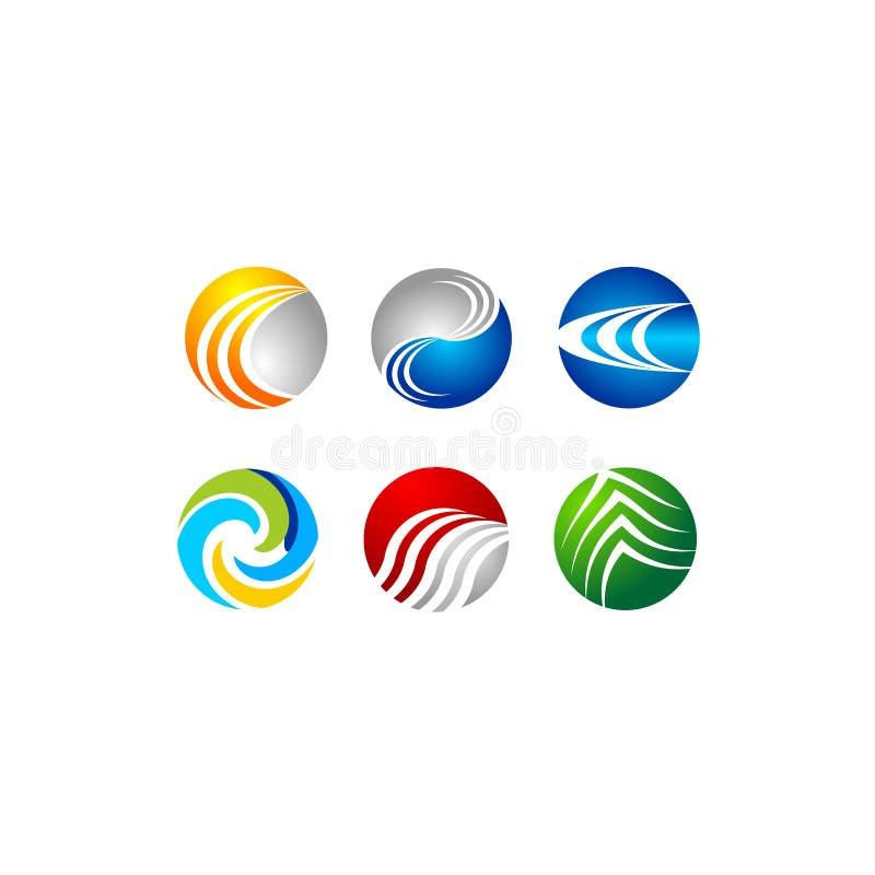 Сфера, круг, логотип, глобальный, абстрактный, дело, компания, корпорация, безграничность, комплект круглого дизайна вектора симв иллюстрация штока