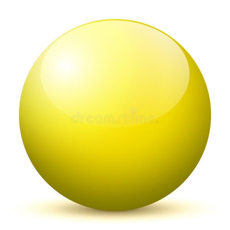 Сфера - простая желтая сияющая сфера 3D с ярким отражением - иллюстрация вектора иллюстрация штока