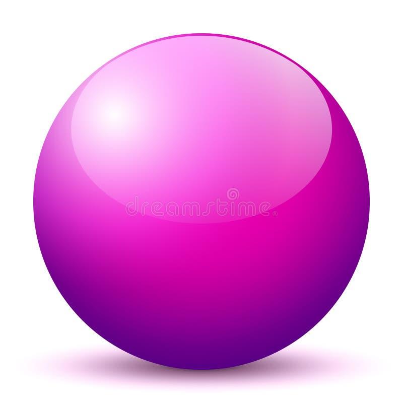 Сфера - простая фиолетовая сияющая сфера 3D с ярким отражением - иллюстрация вектора иллюстрация штока