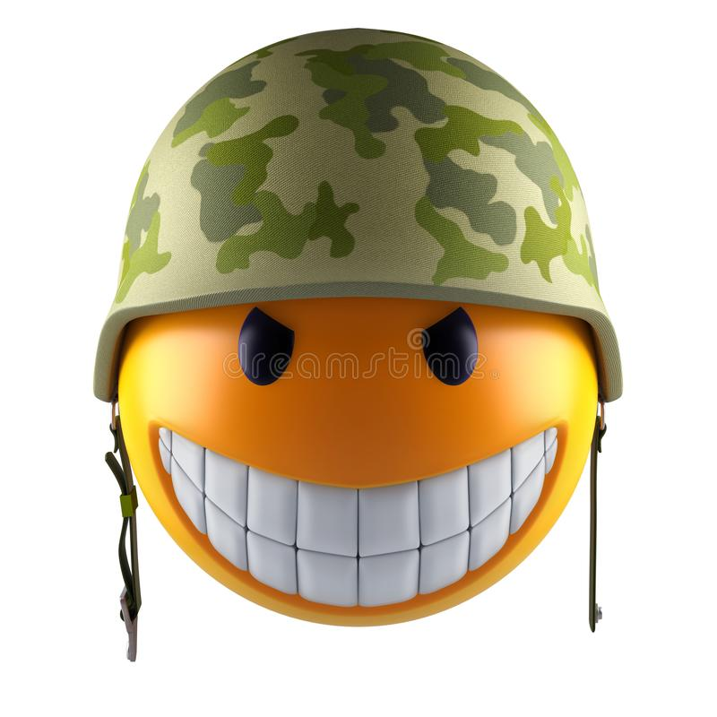 Сфера стороны emoji улыбки с воинским шлемом бесплатная иллюстрация