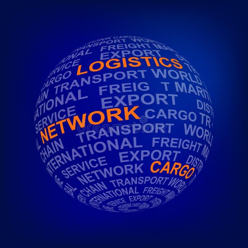 Сфера с снабжением слов, сетью, грузом в апельсине Глобальная сеть снабжения Глобус с различными условиями ассоциации в сини иллюстрация штока