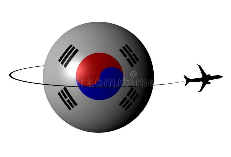 Сфера флага Южной Кореи с иллюстрацией самолета и swoosh иллюстрация штока