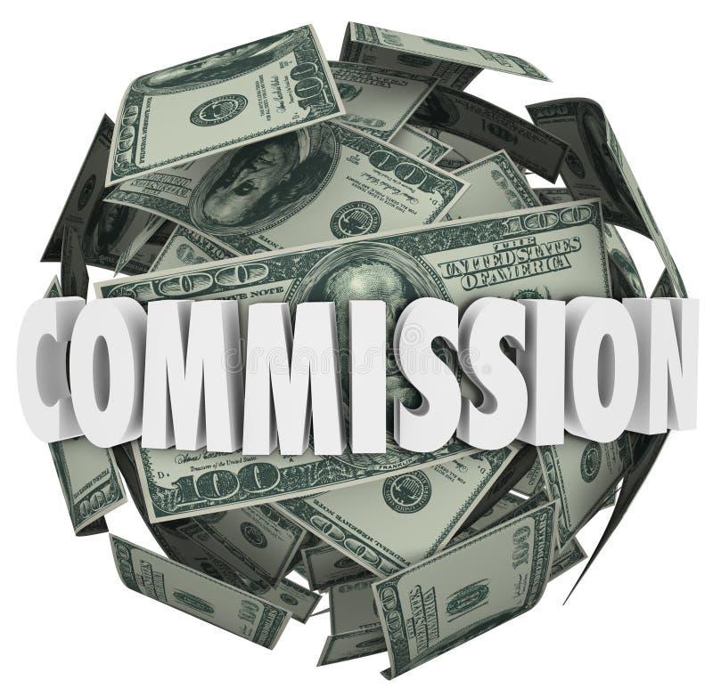 Сфера шарика долларовой банкноты слова 100 комиссии иллюстрация штока