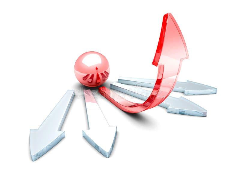 Сфера шарика стекла 3d красные и стрелка концепции успеха иллюстрация вектора
