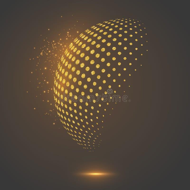 Сфера яркого блеска абстрактным поставленная точки глобусом иллюстрация штока