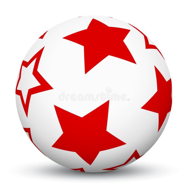 сфера 3D с составленной карту красной текстурой звезды - иллюстрацией вектора! иллюстрация штока