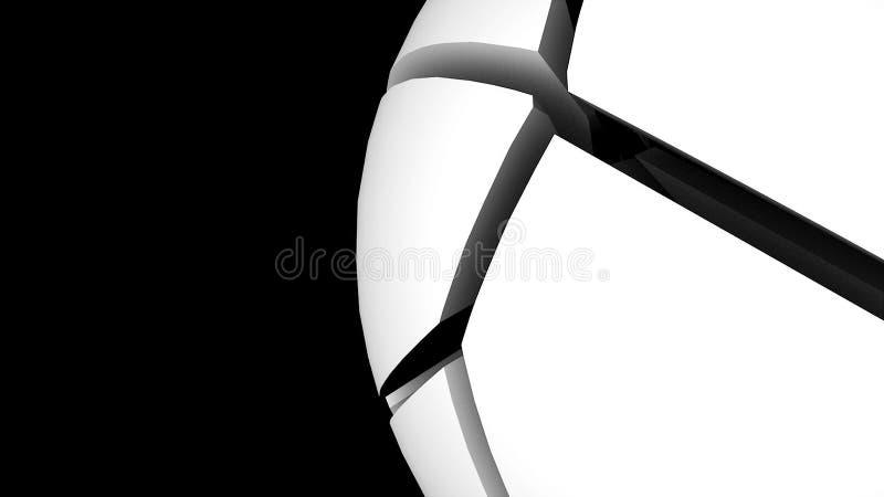 сфера 3d с частями в космосе, предпосылке абстрактной технологии, геометрическом цифровом 3d представить фон иллюстрация вектора