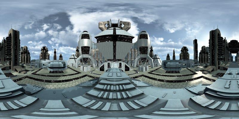 Сферически 360 градусов, безшовная панорама футуристического открытого города перевод 3d иллюстрация вектора
