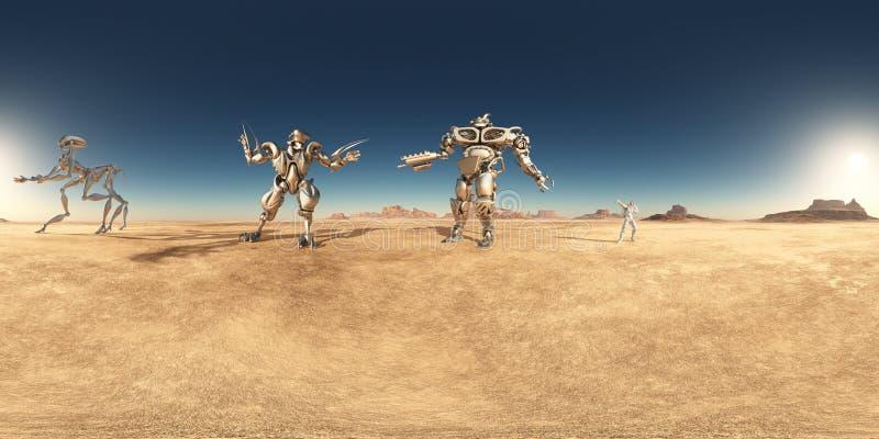 Сферически 360 градусов безшовной панорамы с роботами и астронавтом в пустыне иллюстрация штока