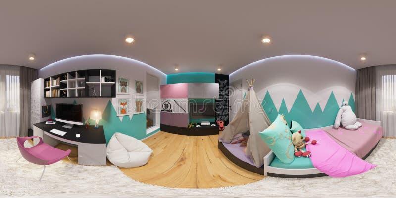 Сферически 360 градусов, безшовная спальня панорамы иллюстрация вектора