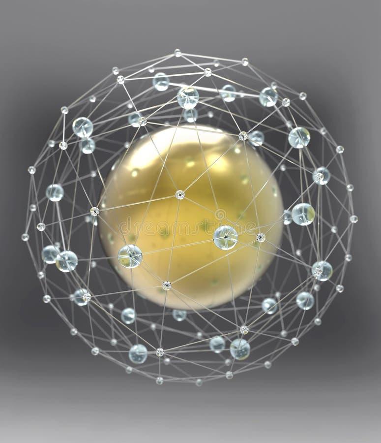 Сферически структура сети иллюстрация вектора