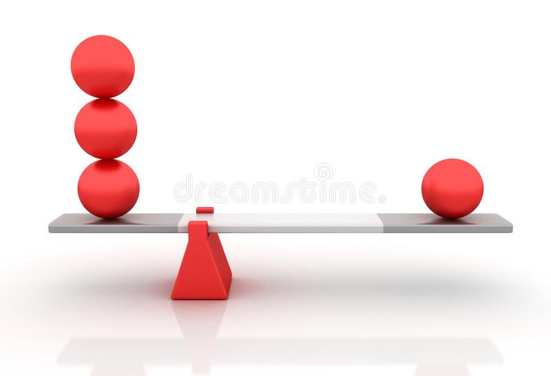 Сферы балансируя на Seesaw иллюстрация штока