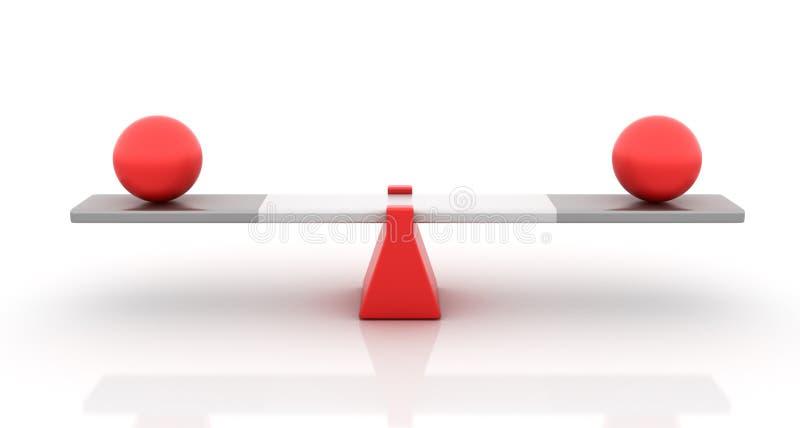 Сферы балансируя на Seesaw иллюстрация вектора