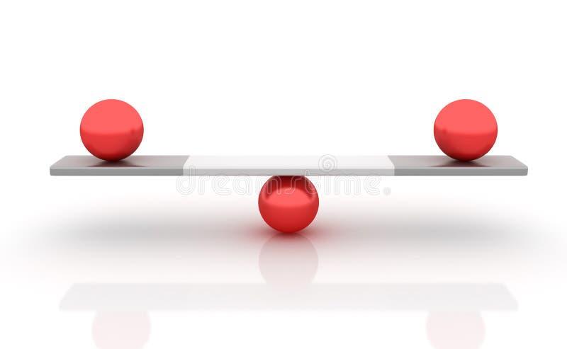 Сферы балансируя на Seesaw бесплатная иллюстрация