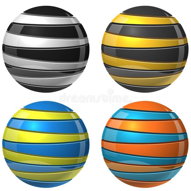 2 сферы отрезанных цветом иллюстрация вектора