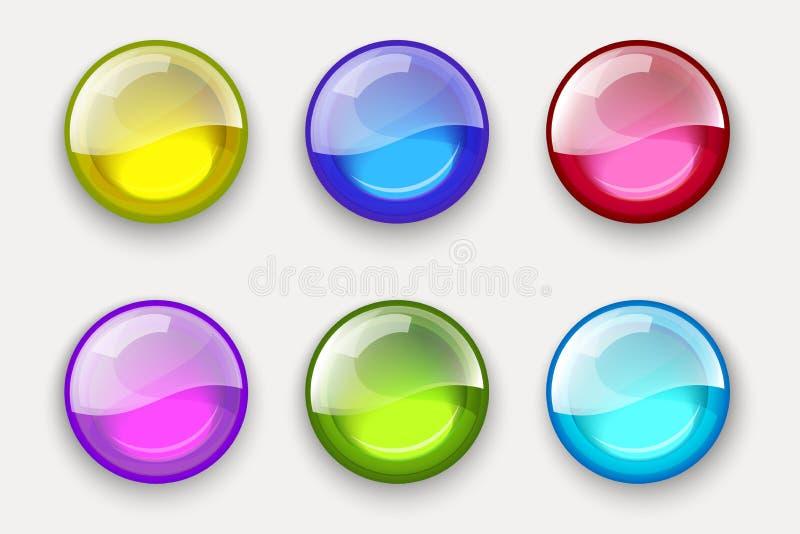 сферы покрашенного комплекта Лоснистые установленные кнопки сети лоснистые сферы иллюстрация вектора