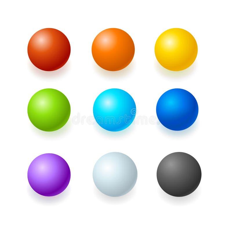 Сферы цвета лоснистые или комплект кнопки вектор бесплатная иллюстрация