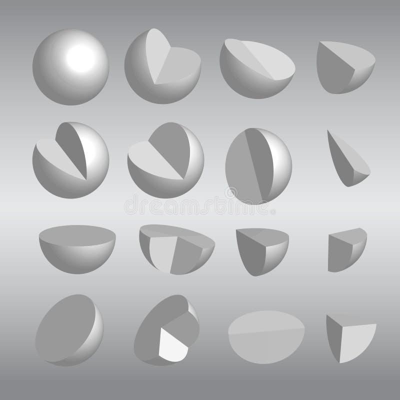 сферы 3D и вектор частей стоковая фотография rf