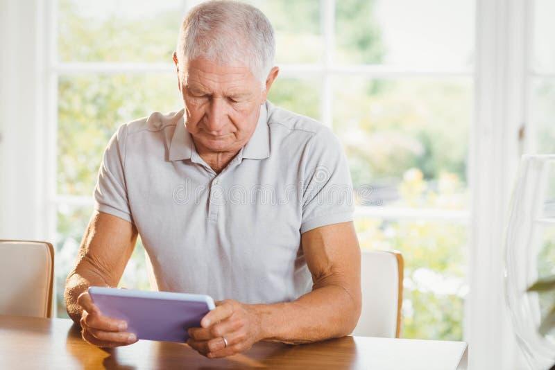 Сфокусированный старший человек используя таблетку стоковые изображения