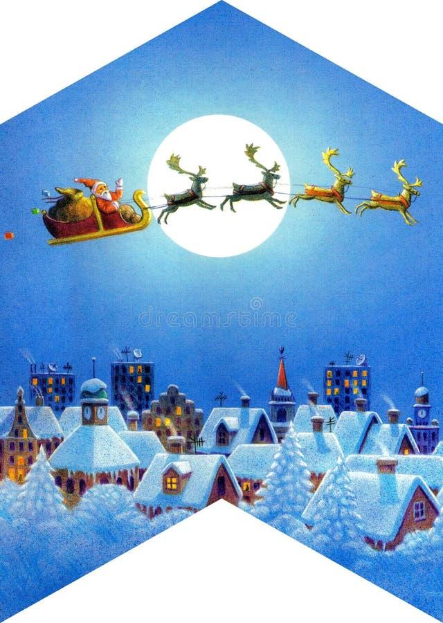 сформированная крыша ночи рождества иллюстрация штока