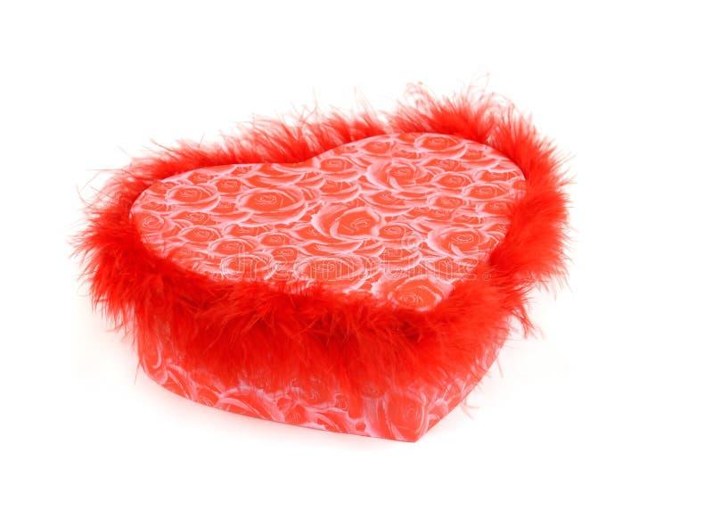 сформированный красный цвет сердца подарка коробки стоковое фото rf