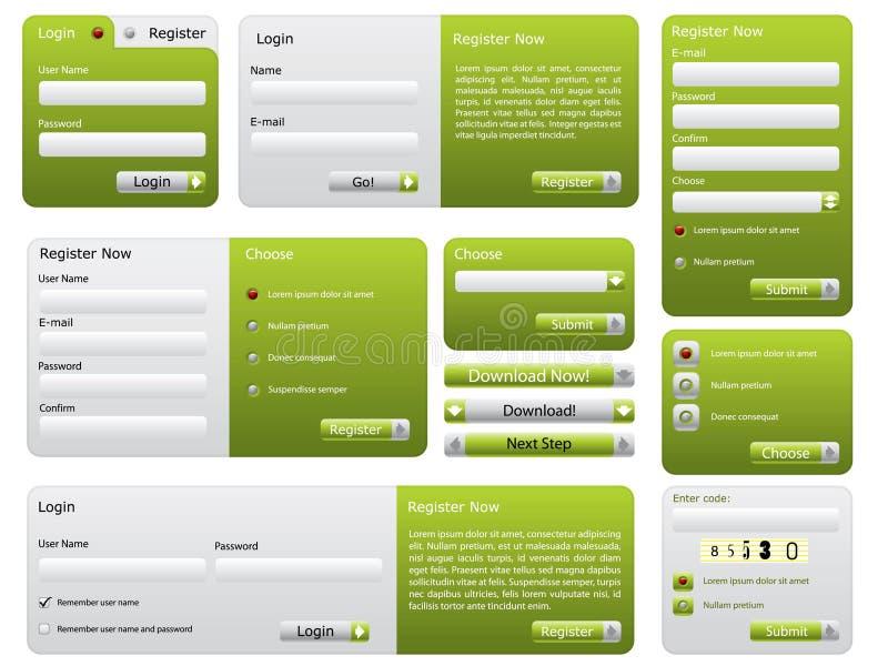сформируйте вебсайт зеленого цвета установленный стоковые фотографии rf