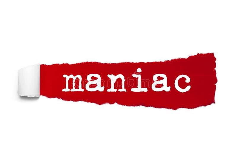 Сформулируйте маниака написанного под завитой частью красной сорванной бумаги бесплатная иллюстрация