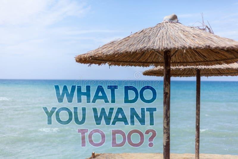 Сформулируйте текст сочинительства что вы хотят сделать вопрос Концепция дела для Meditate ослабляет воду Tha пляжа желания перем стоковое изображение rf