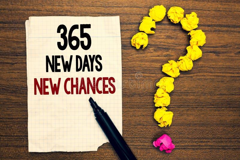 Сформулируйте шансы новых дней текста 365 сочинительства новые Концепция дела для начинать другие возможности календаря года напи стоковые изображения rf