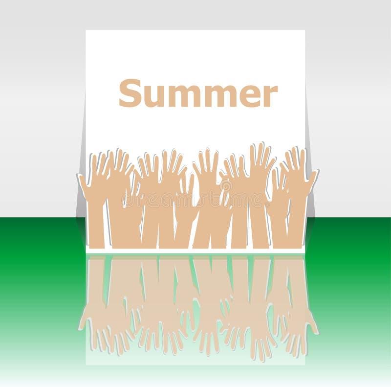 Сформулируйте руки лета и людей, концепцию праздника, дизайн значка иллюстрация вектора